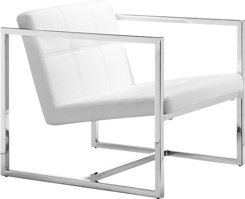 Zuo Modern 500074 Carbon Occasional Chair Color White Chromed Steel Finish - Peazz.com - 1