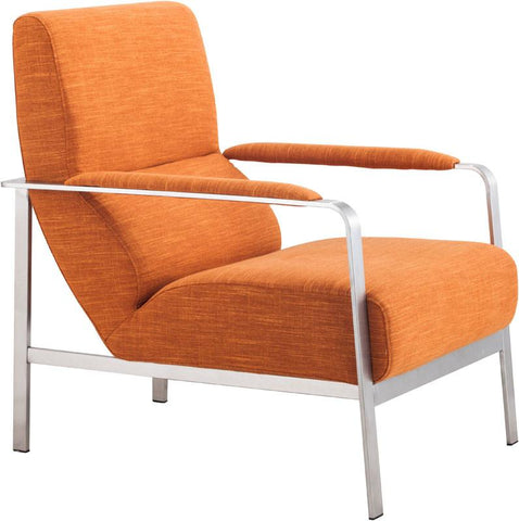 Zuo Modern 500347 Jonkoping Arm Chair Color Orange Brushed Stainless Steel Finish - Peazz.com - 1