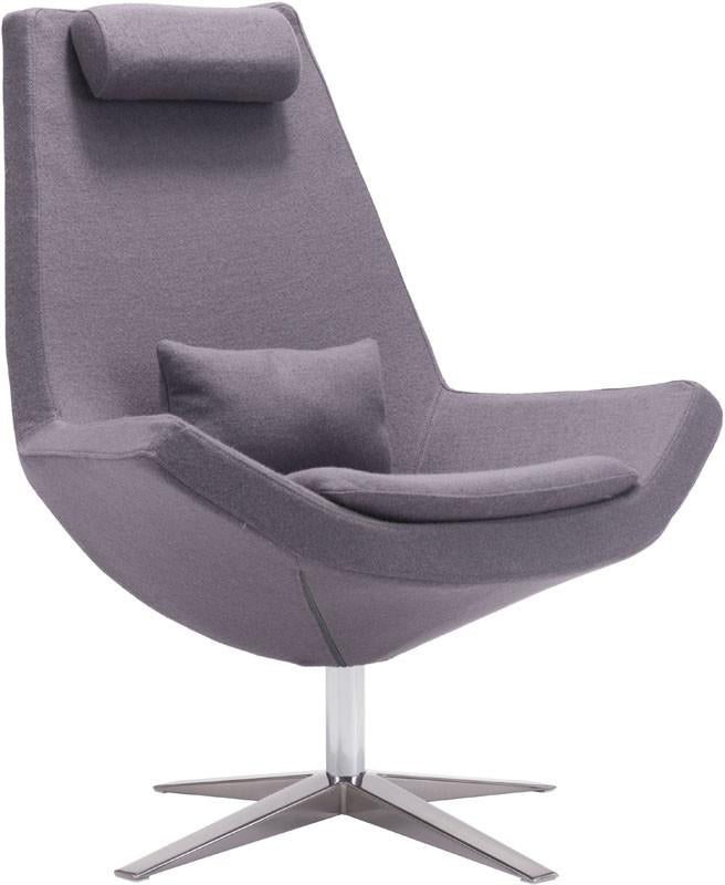 Zuo Chair Color Charcoal Gray Brushed Stainless Steel Bruges