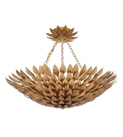 Crystorama 517-GA_CEILING Broche 6 Light Antique Gold Semi-Flush II - PeazzLighting