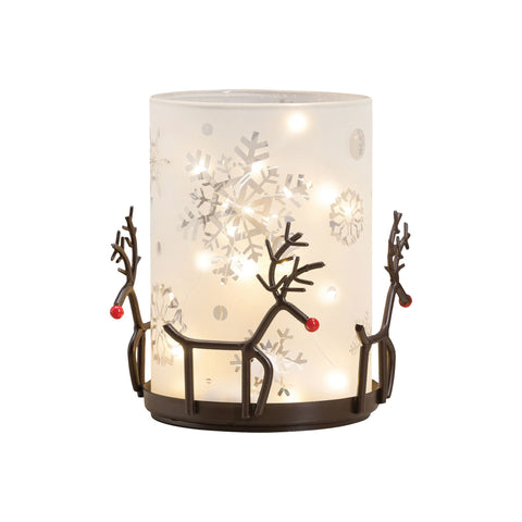 Pomeroy POM-517372 Reindeer Collection Rustic,Frosted White Finish Candle/Candle Holder