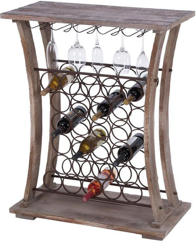 "Bayden Hill Wood Mtl Wine Rack 40""H, 32""W - Peazz.com"