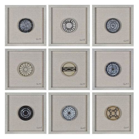 "Renwil Inc W6314 Buttons - 16"" Small Square Décorative Wall Art (Set Of 9), Off-White Finish"