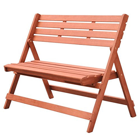 Malibu V1801 Outdoor Patio 4-Foot Wood Folding Bench, Natural Wood