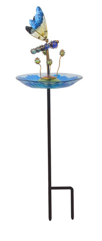 Teamson 3214551C Peaktop - Outdoor 8-Inch Butterfly Fusion Glass Bird Feeder