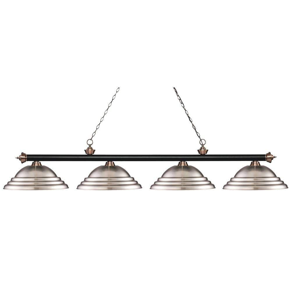Z-LITE 200-4MB AC-SBN Riviera Matte Black & Antique Copper 4-Light Island/Billiard, Matte Black & Antique Copper