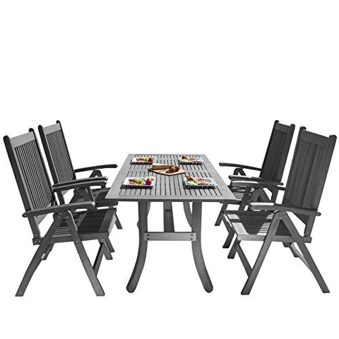 Vifah V1300SET10 Outdoor Patio Dining Set with Reclining Chairs, Hand-Scraped Wood