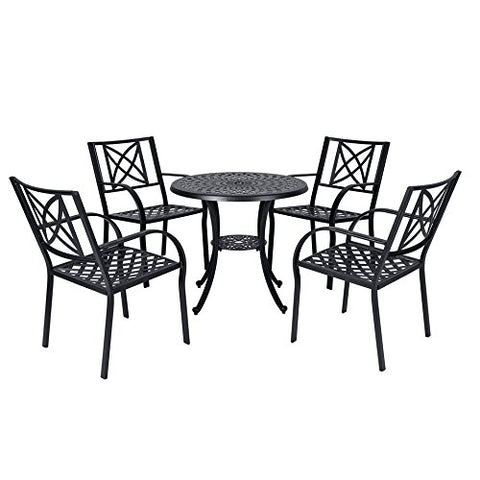 Vifah V1809SET2 Paracelsus Outdoor Patio Aluminum 5-Piece Dining Set, Black