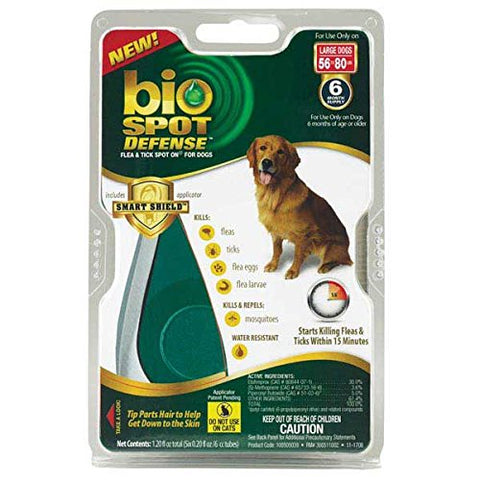 Farnam 18241 Bio Spot Defense Flea & Tick Spot On, Dogs Large 3160 lbs, 6 Months - Peazz Pet