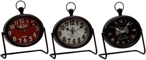 Benzara 52533 Vintage Themed Metal Table Clock 3 Assorted
