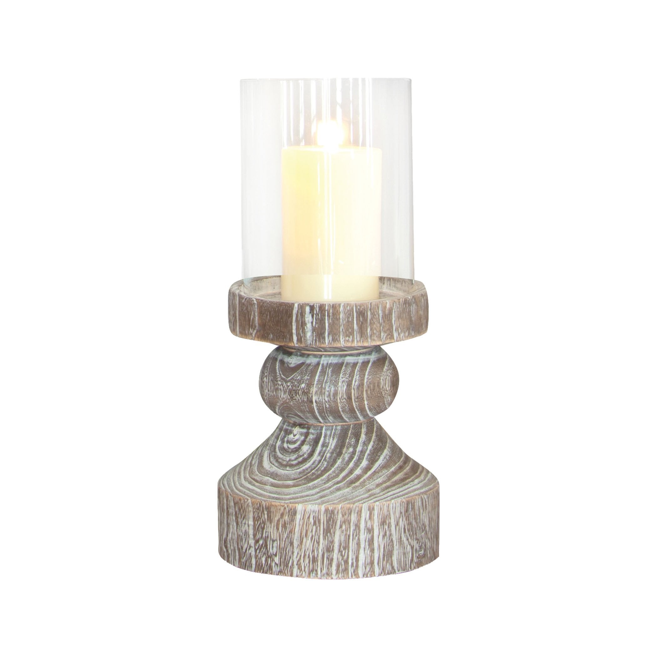 Pomeroy POM-525575 Monticello Collection Ashwood,Clear Finish Candle/Candle Holder