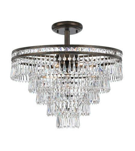 Crystorama 5264-EB-CL-MWP_CEILING Mercer 6 Light Hand Cut Crystal Bronze Semi-Flush - PeazzLighting