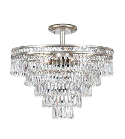 Crystorama 5264-OS-CL-MWP_CEILING Mercer 6 Light Hand Cut Crystal Silver Semi-Flush - PeazzLighting