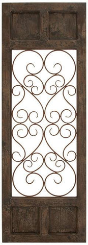 Benzara 52792 Wood Metal Wall Panel In Dark Brown Color With Classic Style
