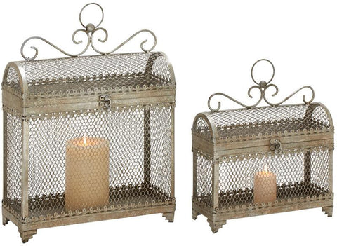 Benzara 52986 Set Of 2 Enticing And Unique Styled Metal Candle Lantern