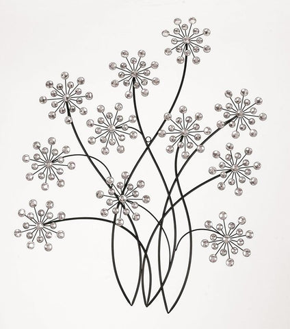 Benzara 53005 Black Metal Wall Decor With Ivory Colors Glass Pieces