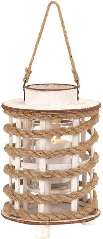 Benzara 53169 Classic Wooden Glass Rope Extension Lantern With Rustic Finish