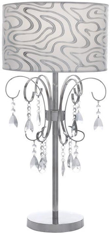 Benzara 53408 Venica Table Lamp With Chic Printed Lampshade And Beaded Tassels