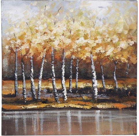 Benzara 53673 Nature Painting With Bright Gold Trees