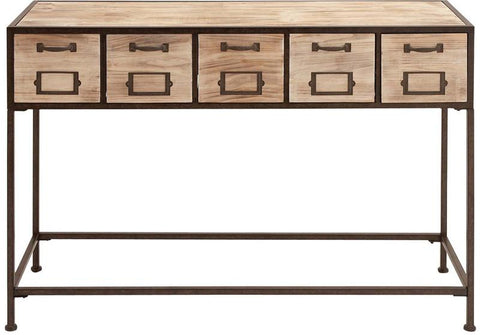 Benzara 54427 Console Table With Bright Light Wood Finish & Metal Leg