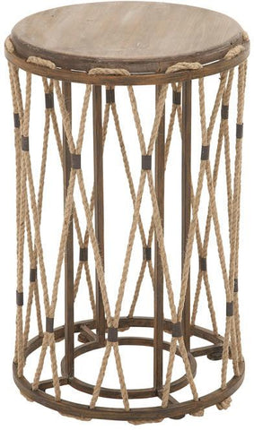 Benzara 54497 Unique And Classy Wood Metal Rope Side Table