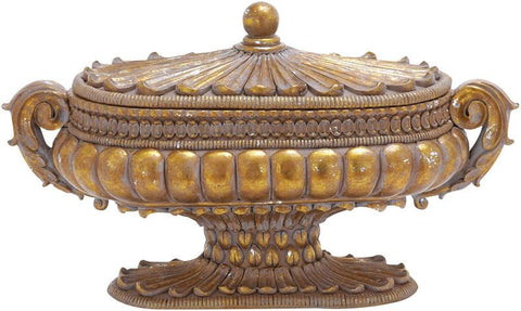 Benzara 54819 Container In Gold Finish With Solid Design