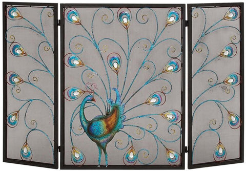 Benzara 55275 The Colorful Metal Fireplace Screen