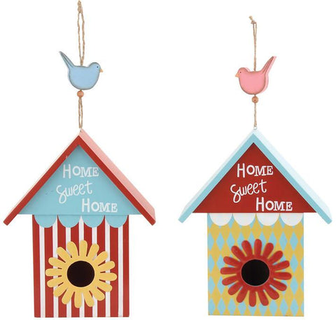 Benzara 55318 The Beautiful Wood Metal Birdhouse 2 Assorted