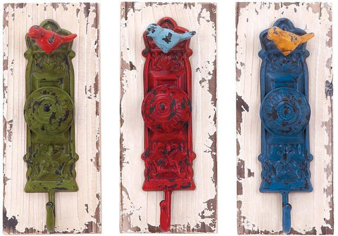 Benzara 55454 Wall Hook Assorted With Vibrant Colors - Set Of 3
