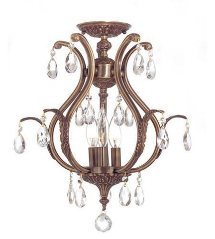 Crystorama 5560-AB-CL-MWP_CEILING Dawson 3 Light Clear Crystal Brass Semi-Flush - PeazzLighting