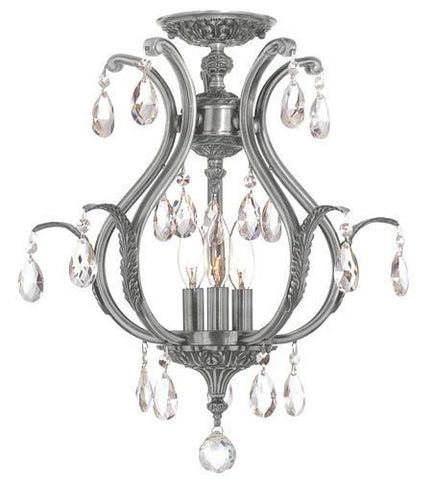 Crystorama 5560-PW-CL-MWP_CEILING Dawson 3 Light Clear Crystal Pewter Semi-Flush - PeazzLighting