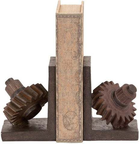Benzara 55619 55619 Rusted Gear Themed Book End Set