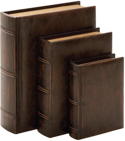 Benzara 55701 Library Wood Leather Book Set/3