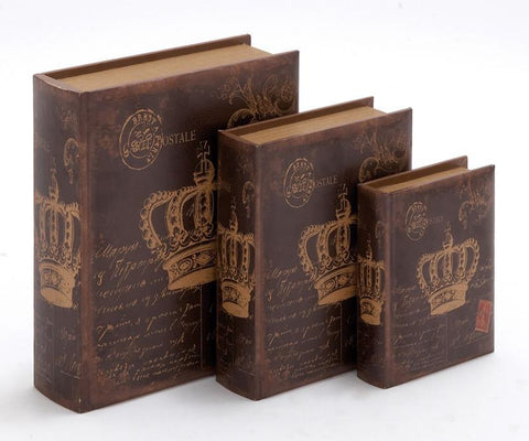 Benzara 55731 Wooden Book Box With Rich Design And Natural Texture (Set Of 3)