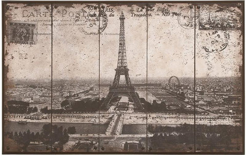Benzara 56000 Wall Art Of Postcard Style Paris Eiffel Tower
