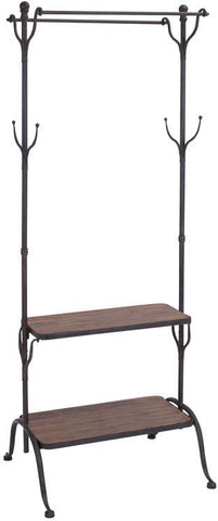 Benzara 56117 Clothing Rack With Multiple Hooks And Shelves