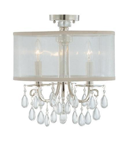 Crystorama 5623-CH_CEILING Hampton 3 Light Chrome Semi-Flush - PeazzLighting