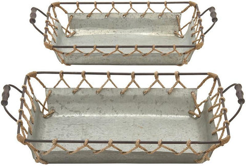 Benzara 56577 Well Designed Attractive Metal Rope Tray Set Of 2