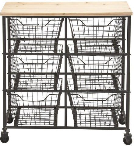 Benzara 56809 Unique Styled Fancy Metal Wood Storage Cart