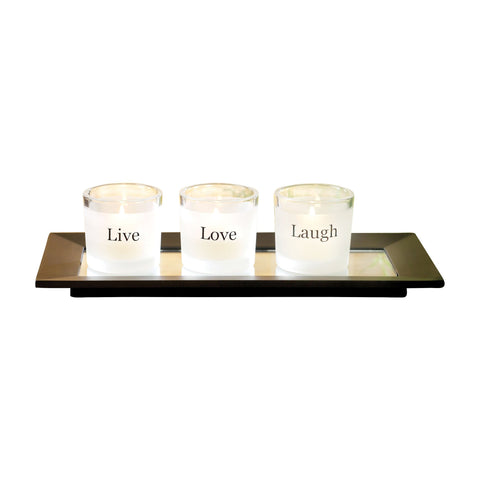 Pomeroy POM-571343 Sentiments Collection Black,Clear,Frosted Finish Candle/Candle Holder
