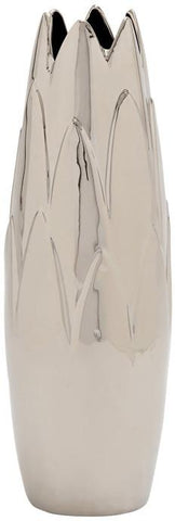 Benzara 57528 Creative Styled Fancy Ceramic Silver Bud Vase