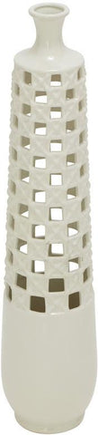 Benzara 57532 Contemporary Styled Ceramic White Vase