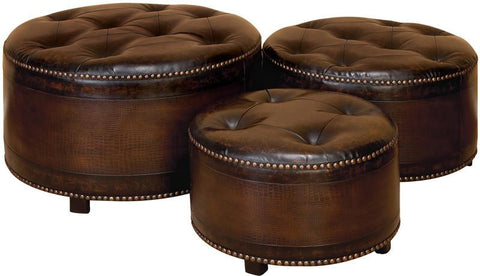 Benzara 57993 Wood Leather Ottoman S/3 Sitting Capacity Addition