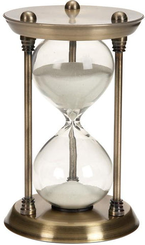 Benzara 58155 Metal/Glass Quarter Hourglass With 15 Minutes Time Interval