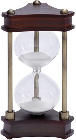 Benzara 58193 Wood Metal Glass Sand Timer Must To Have For Maritime Collector