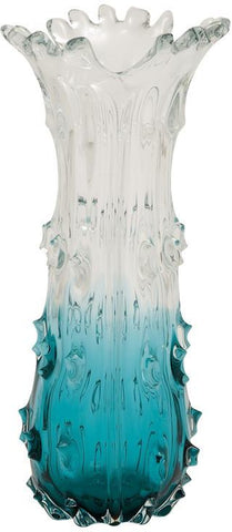 Benzara 58955 Exclusive Unique Styled Glass Clear Blue Vase