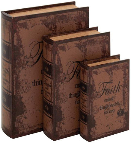 Benzara 59386 Set Of 3 Faded-Brown Leather Book Box
