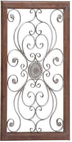 Benzara 60114 The Large Metal Wood Wall Plaque