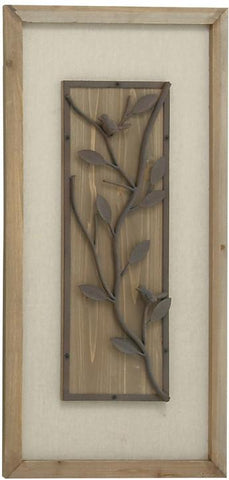 Benzara 60132 Attractive Styled Wood Metal Fabric Plaque