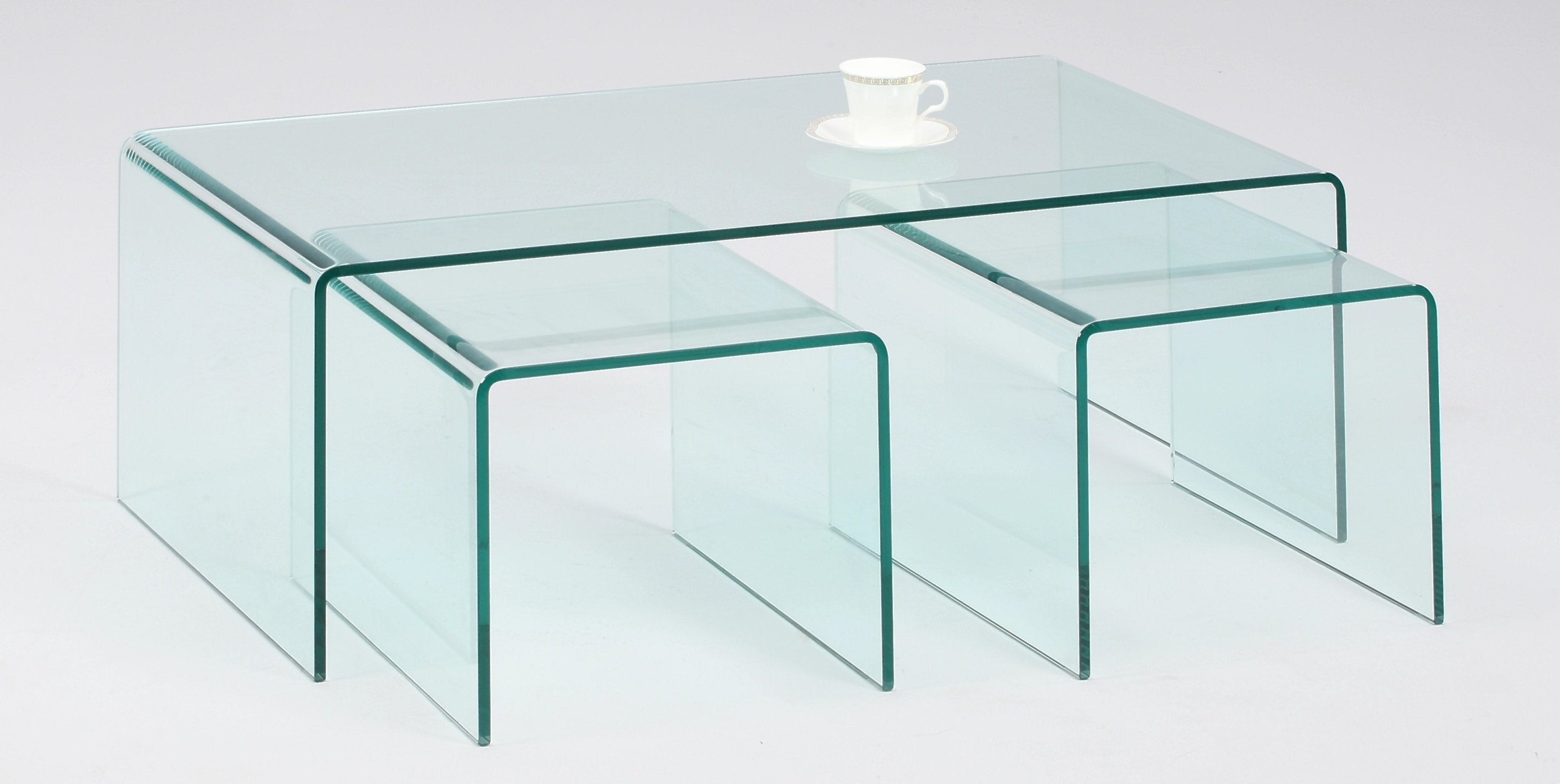 Chintaly Bent Glass Cocktail Table Table Set 12443